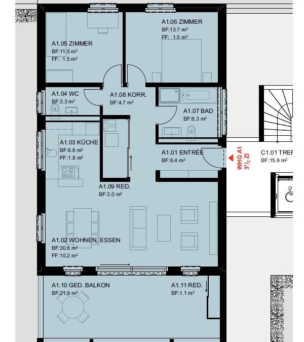 """3.5 Zimmer-Eigentumswohnung im OG """"A1"""", Wettingen"""