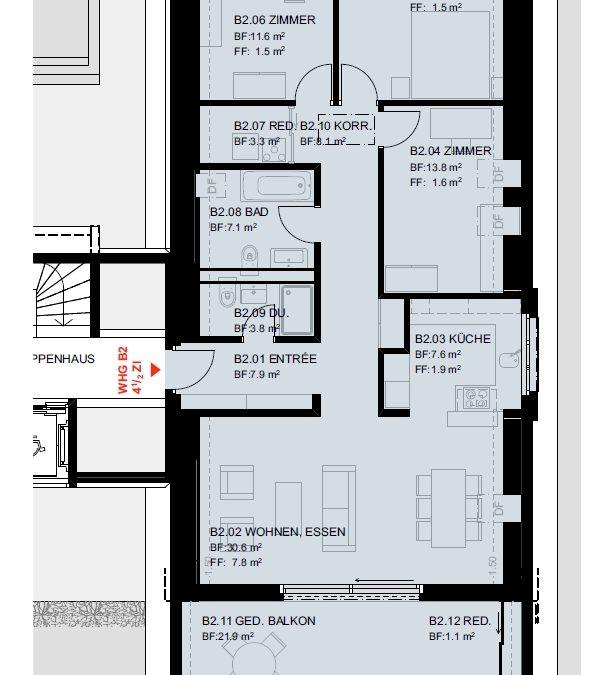 """4.5 Zimmer-Eigentumswohnung im DG """"B2"""", Wettingen"""